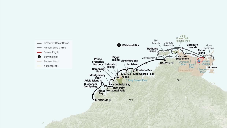 Map for Grand Kimberley Coast And Arnhem Land Explorer