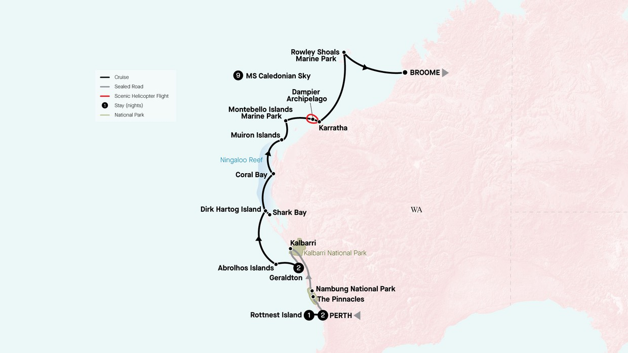 Map for Colours Of The Coral Coast & The Wildflower Way