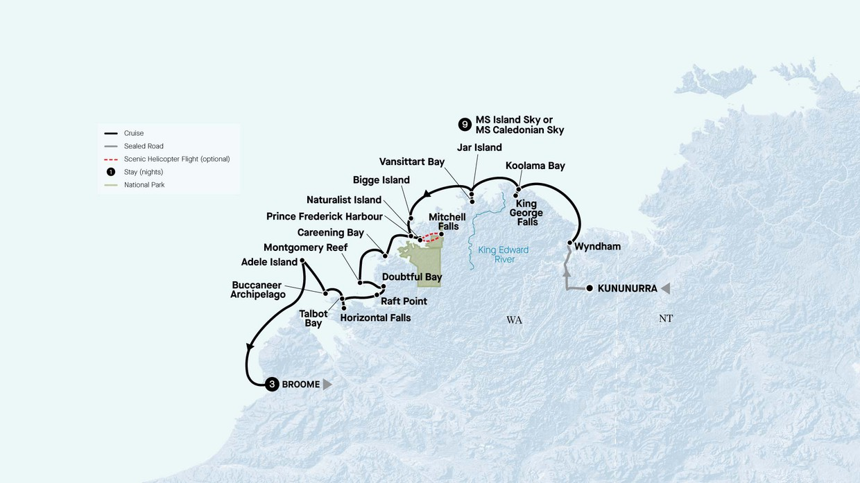 Map for Grand Kimberley Coast With Broome Discovery (Island Sky)