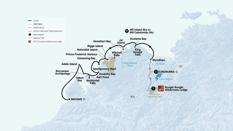 Map for Grand Kimberley Coast With Purnululu Experience (Island Sky)