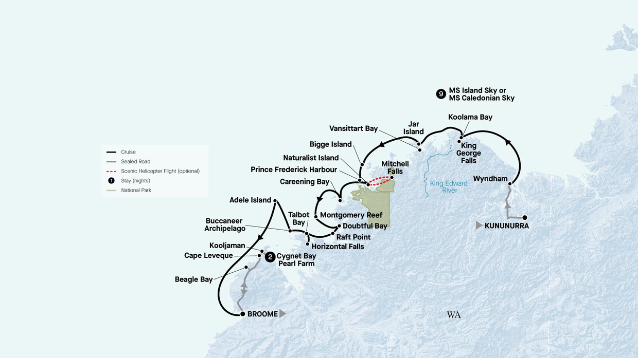Map for Grand Kimberley Coast With Cape Leveque (Caledonian Sky)
