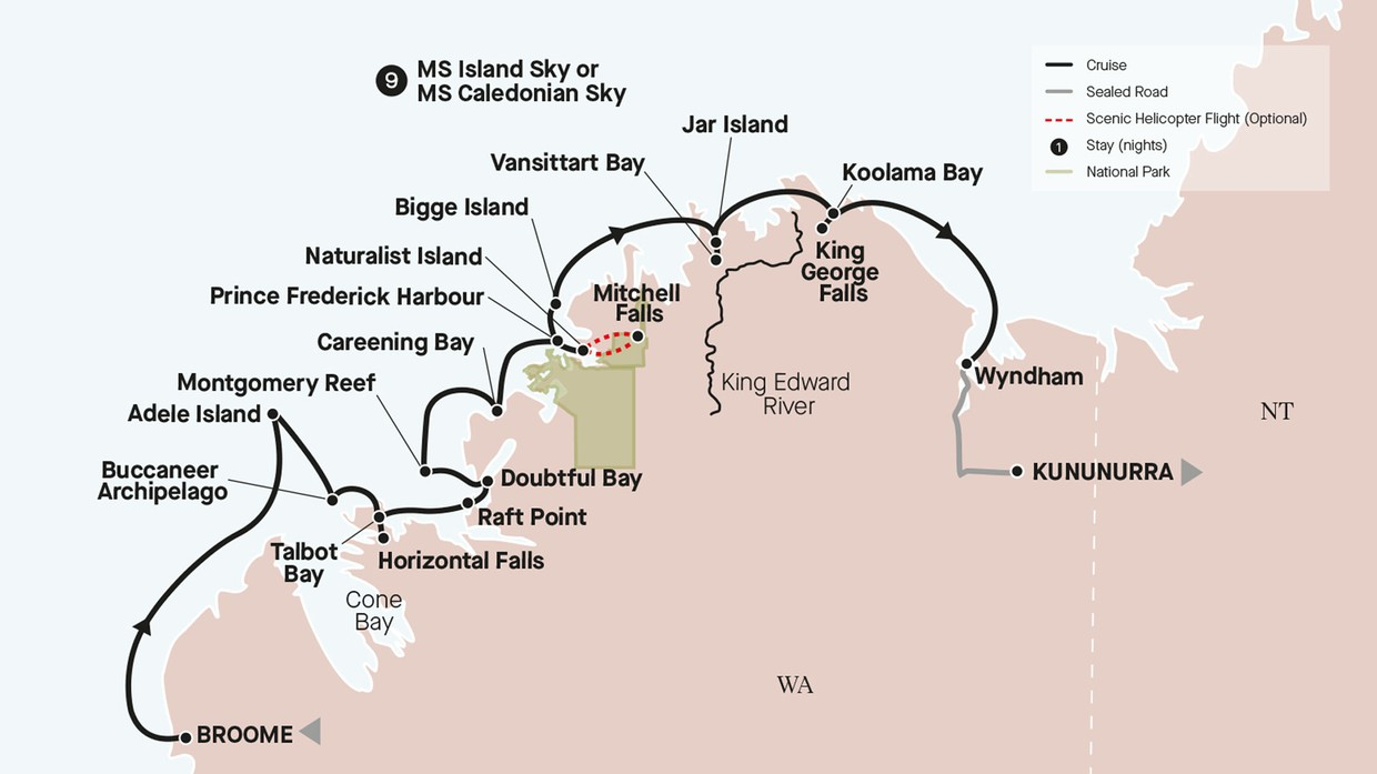 Map for Grand Kimberley Coast (Island Sky)
