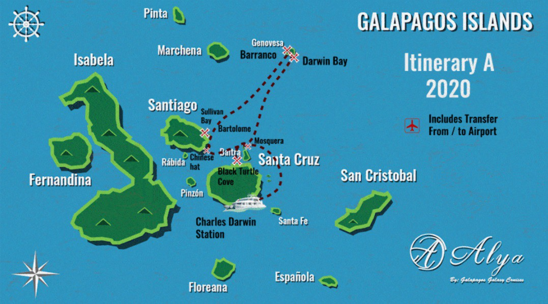 Map for Galapagos 5 Day Cruise A (Alya)