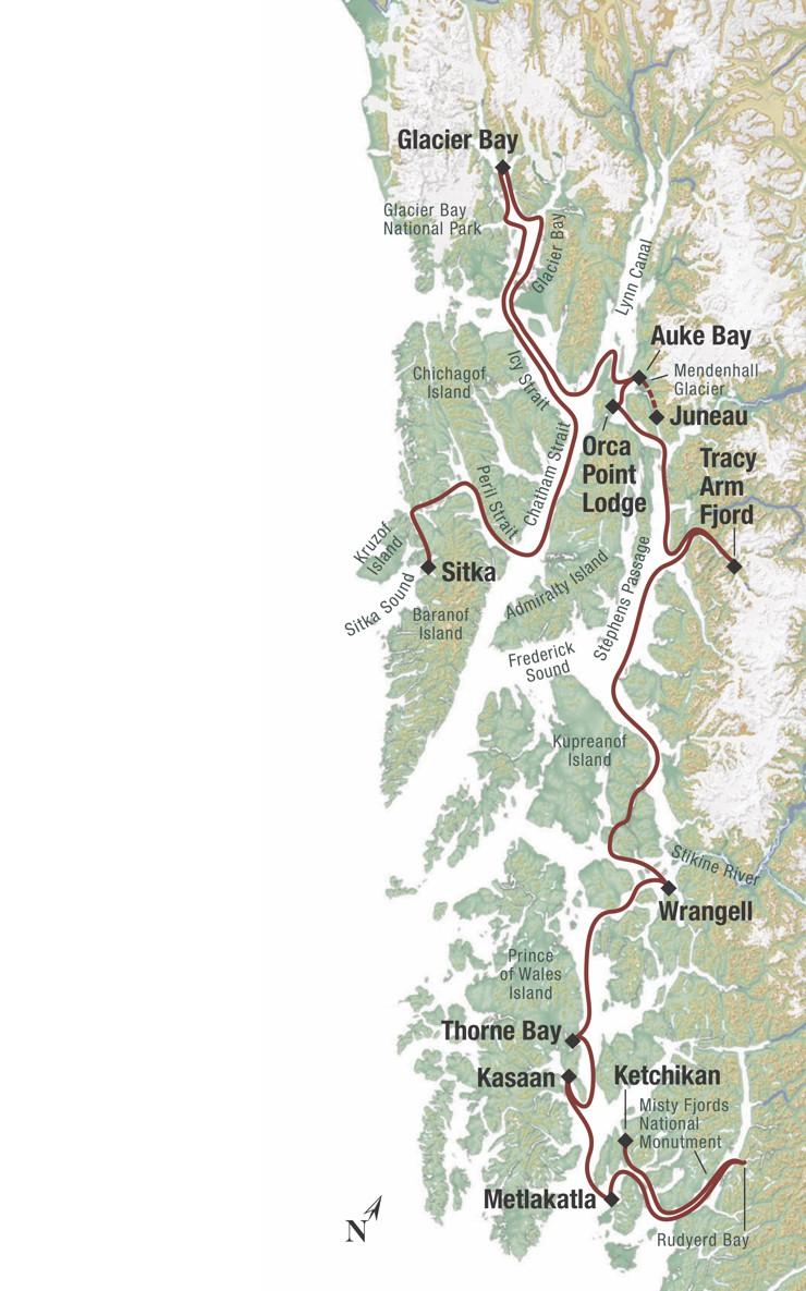Map for Alaska's Inside Passage Sojourn (Chichagof Dream)