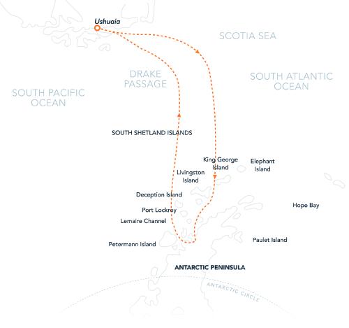 Map for Adventures in Antarctica 2020 (Hebridean Sky)