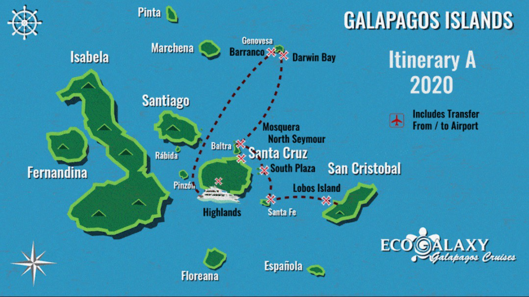 Map for 5 Day Galapagos Cruise A (Eco Galaxy)