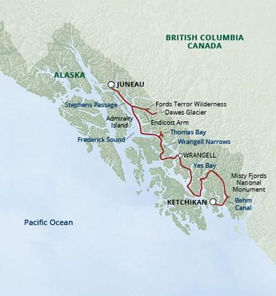 Map for Alaska Fjords & Glaciers (Safari Quest)