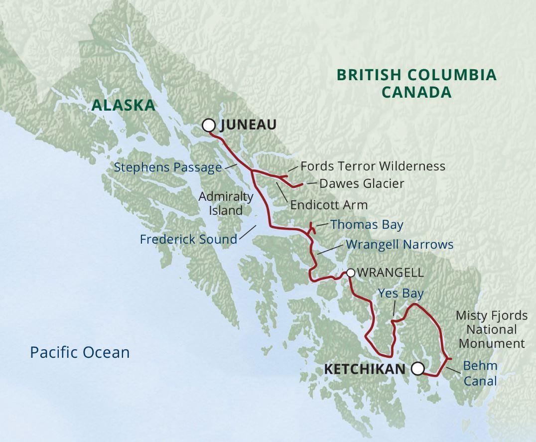 Map for Alaska Fjords & Glaciers (Wilderness Discoverer)