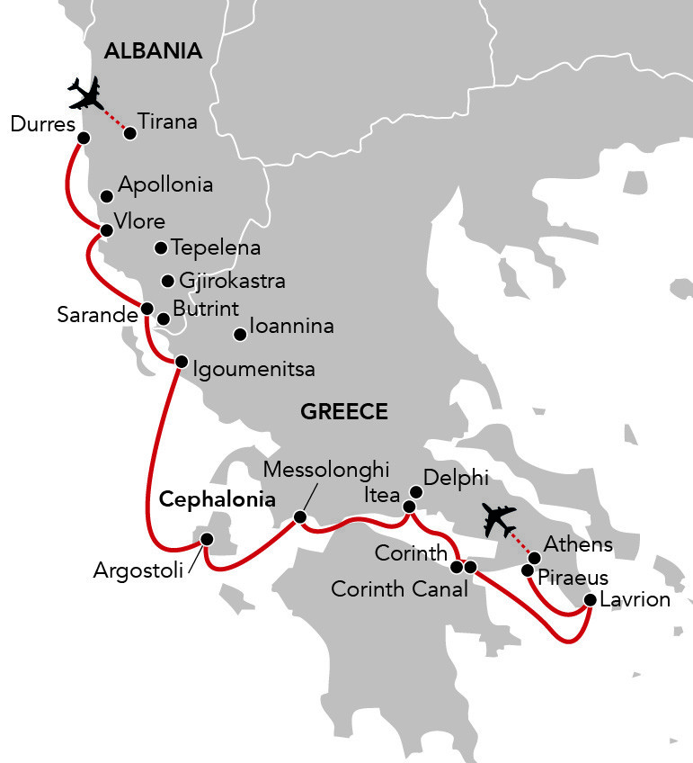 Map for Albania & Greece Through the Eyes of Byron