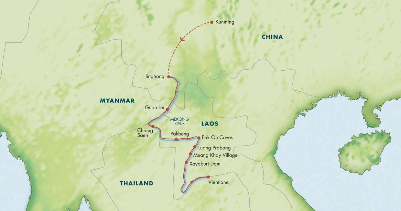 Map for Along the Mekong: China, Thailand & Laos