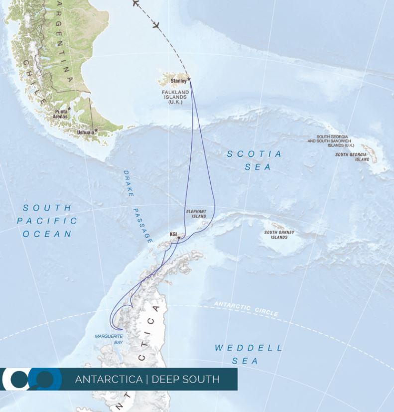 Map for Antarctica - Deep South - Circle Crossing (RCGS Resolute)