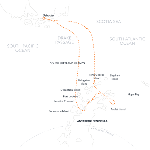 Map for Antarctica Revealed 2021 (Hebridean Sky)