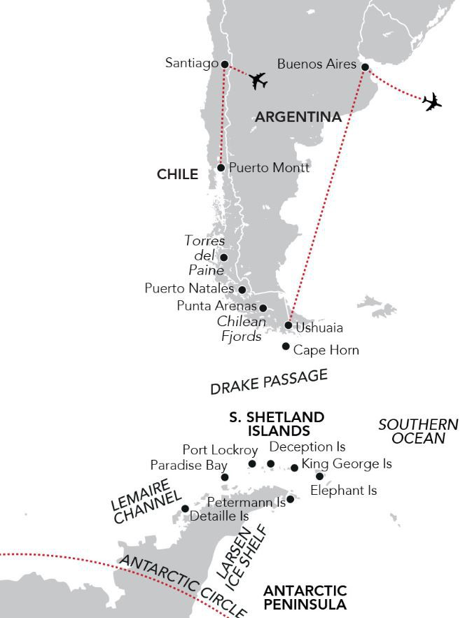 Map for Christmas & New Year in the Chilean Fjords & Antarctica (Island Sky)