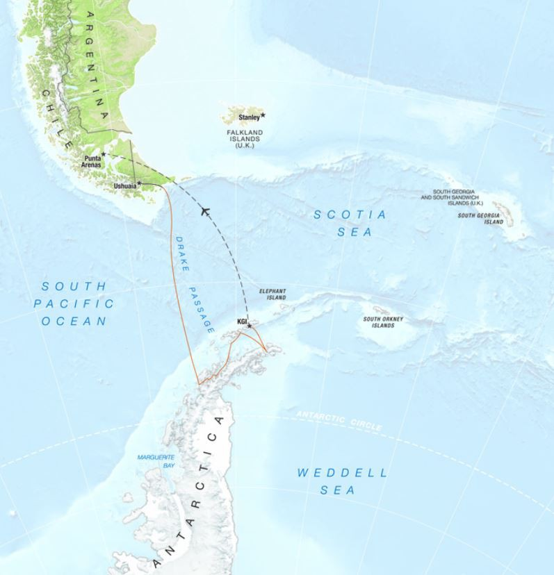 Map for Antarctica - 'In Depth' (Extended Peninsula Voyage)