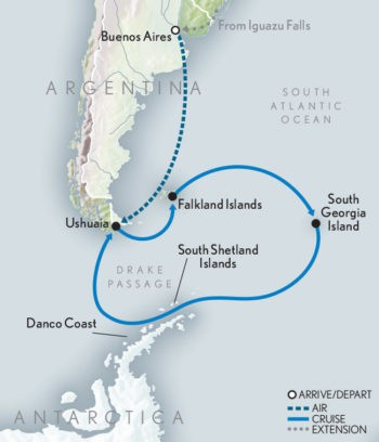 Map for Holiday Voyage: Antarctica, South Georgia & the Falkland Islands