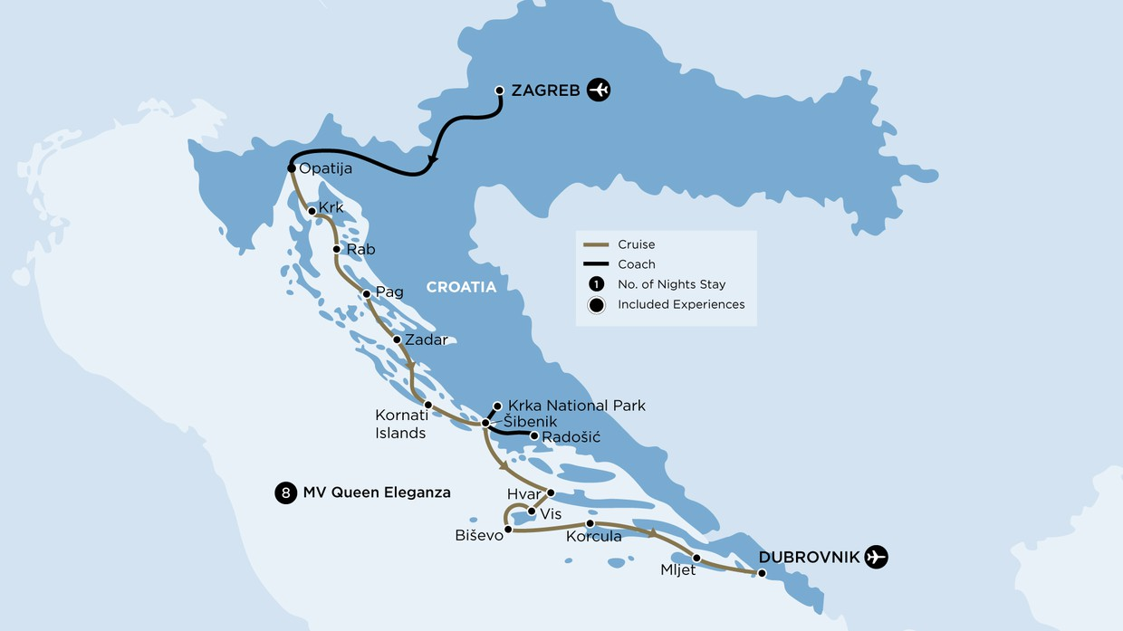 Map for Croatian Island Discovery (Queen Eleganza)