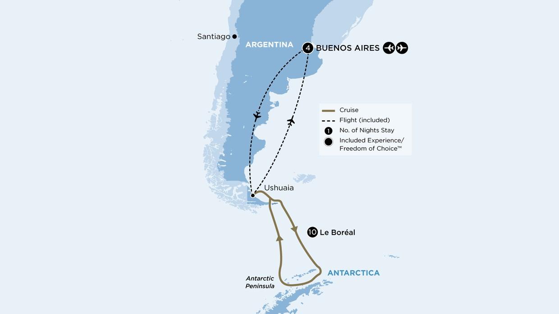 Map for Classic Antarctica (Le Boreal)