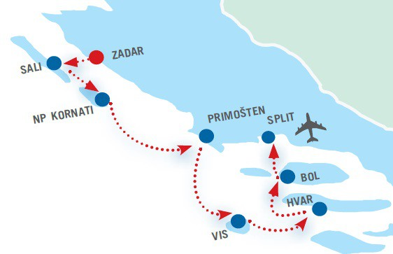 Map for Zadar to Split Cruise