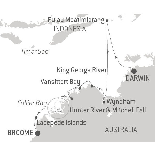 Map for Australia's Iconic Kimberley incl. East Timor (Le Laperouse)
