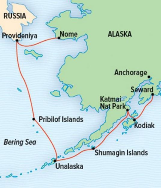 Map for Bering Sea Wilderness: Pribilofs, Katmai, and Kodiak