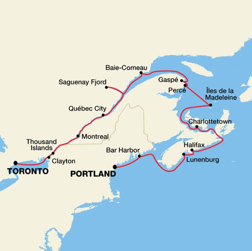 Map for Canadian Maritimes & St. Lawrence Seaway Cruise