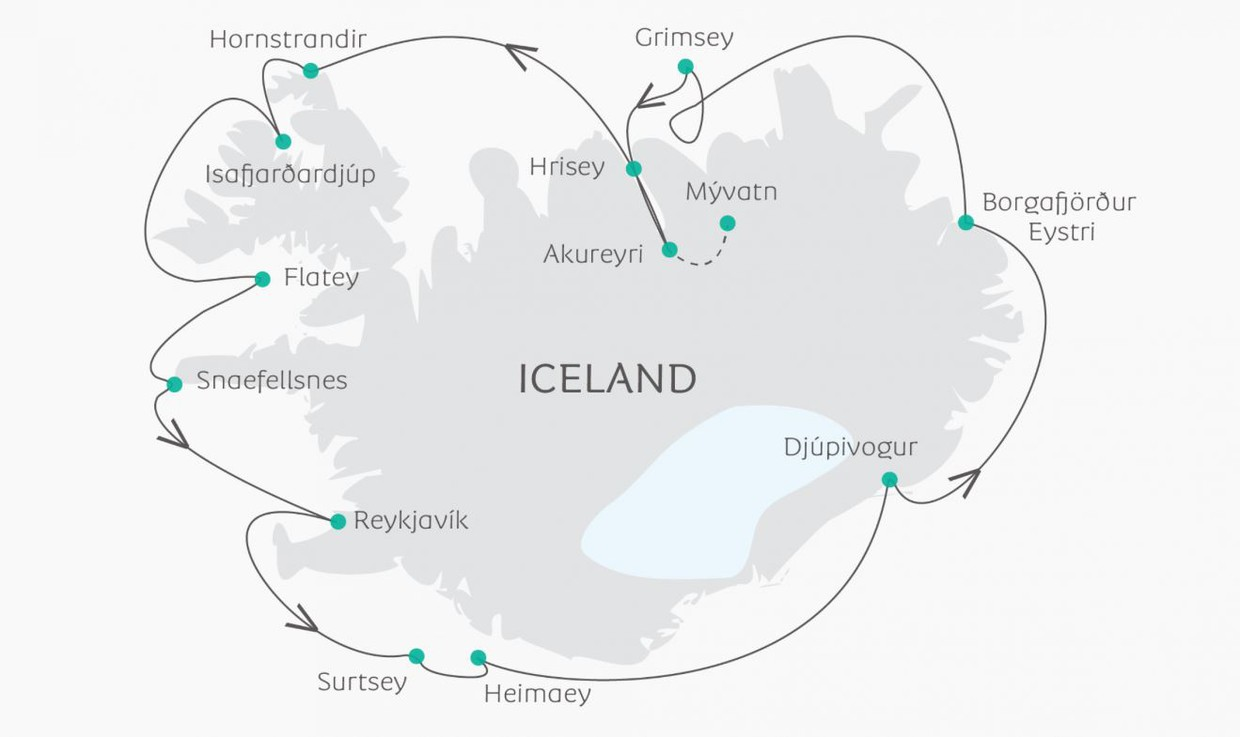 Map for Circumnavigation of Iceland (Ocean Atlantic)