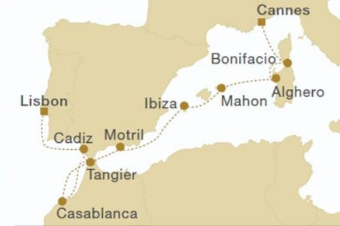 Map for Corsica, Balearic & Morocco (Royal Clipper)