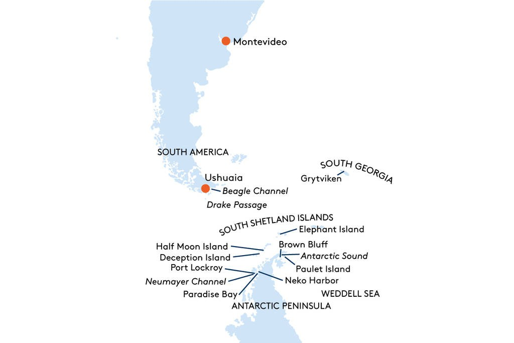 Map for From Montevideo to Ushuaia Cruise