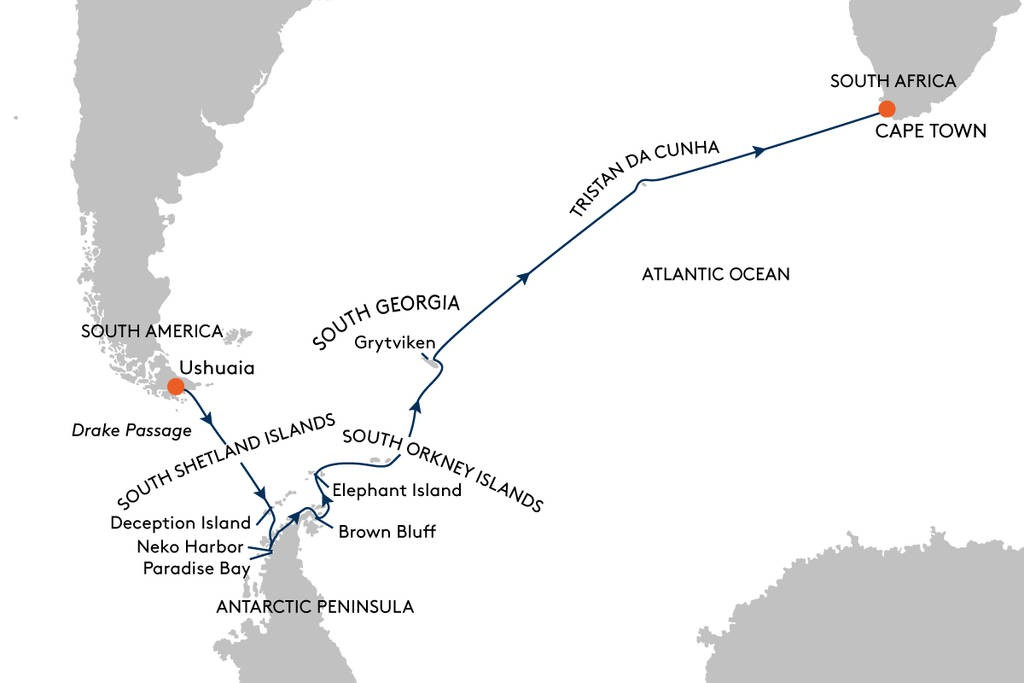Map for From Ushuaia to Cape Town Cruise