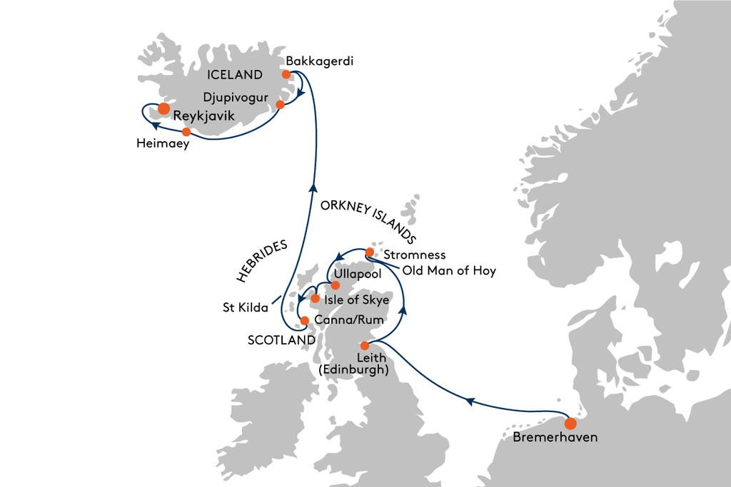 Map for From Bremerhaven to Reykjavik Cruise