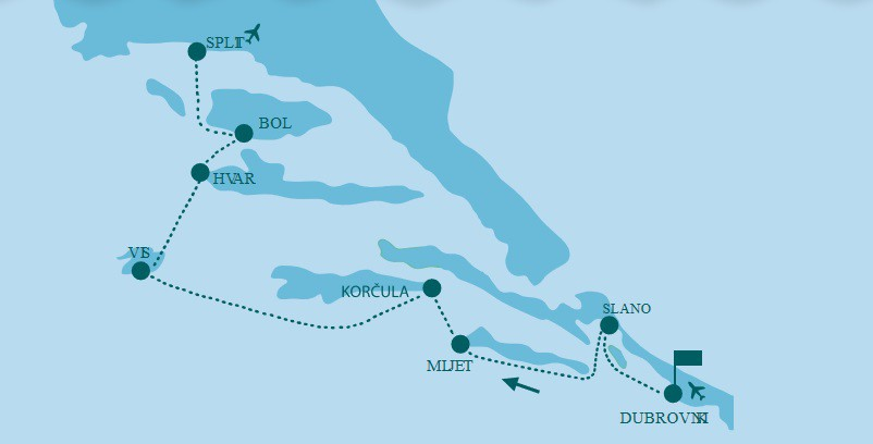 Map for Dubrovnik to Split Luxury Adriatic Cruise