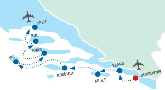 Map for Dubrovnik to Split Luxury Cruise