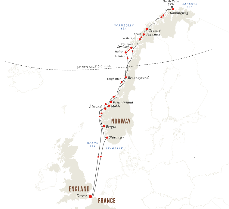 Map for UK to the North Cape via the Fjords