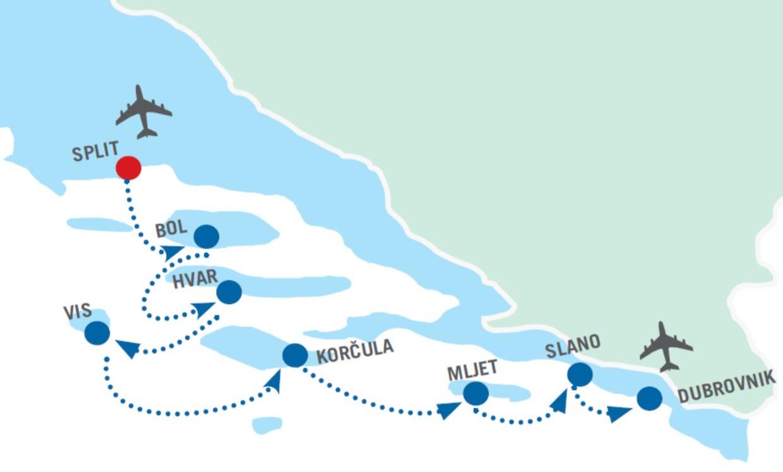 Map for Split to Dubrovnik cruise - Premium class