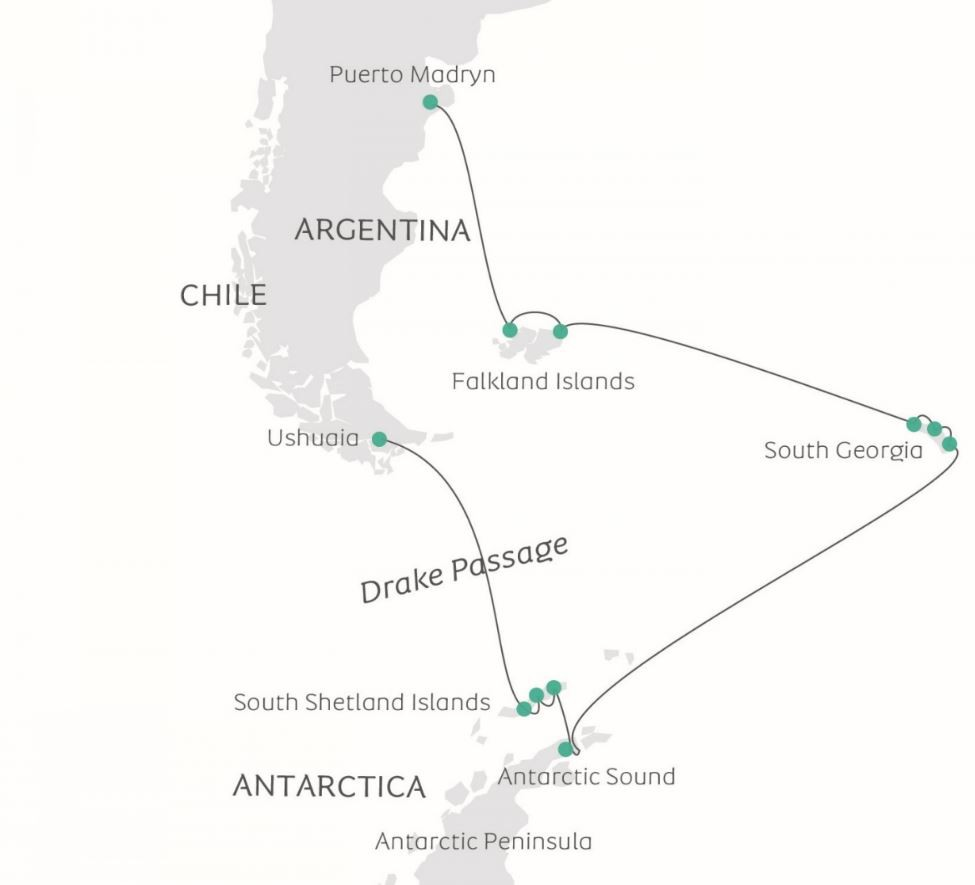 Map for South Shetlands, South Georgia & Antarctica (Ocean Victory)