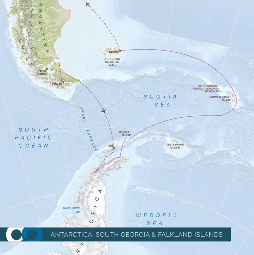 Map for Falklands, South Georgia & Antarctica 18 Days 2021 (Resolute)