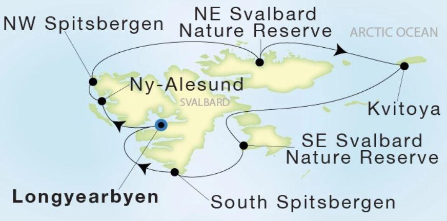 Map for From Longyearbyen to Longyearbyen 12 Days (Sea Dream Innovation)