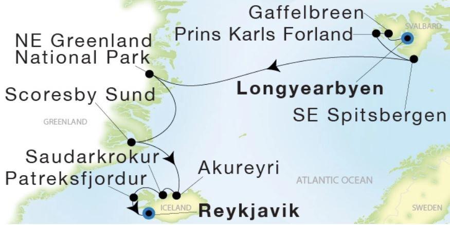Map for From Longyearbyen to Reykjavik (Sea Dream Innovation)