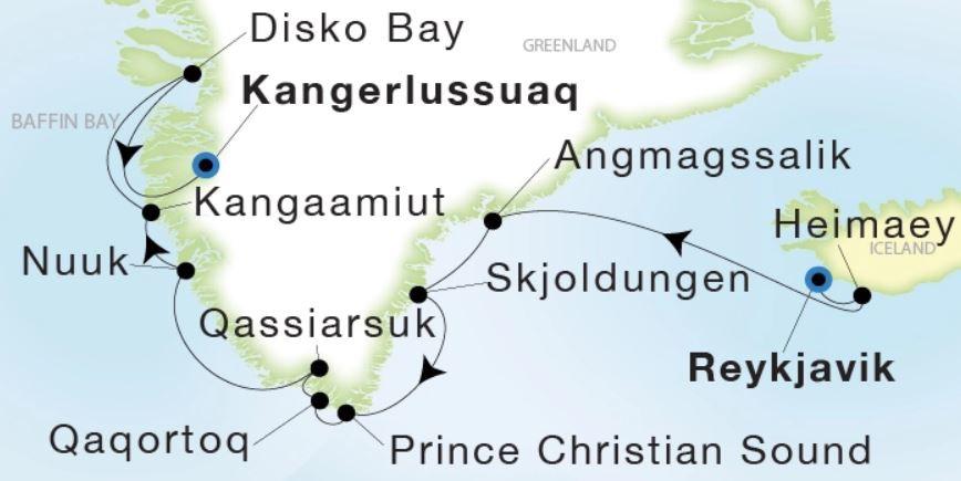 Map for From Reykjavik to Kangerlussuaq (Sea Dream Innovation)