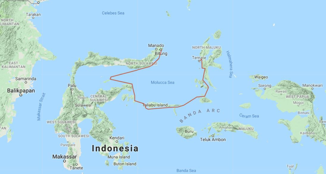 Map for From the Spice Islands to Sulawesi (Ombak Putih)