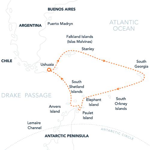 Map for Falklands, S. Georgia & Antarctica