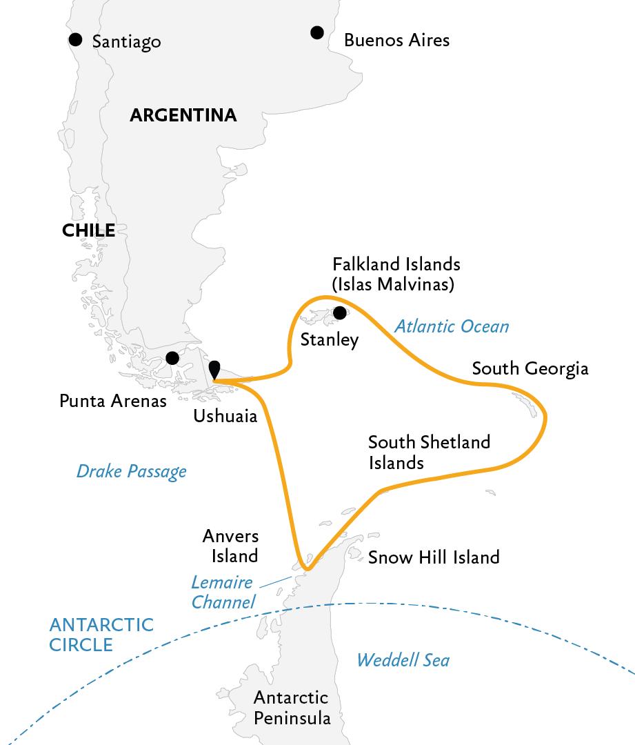 Map for Antarctica: Explorers and Kings (Ocean Diamond)
