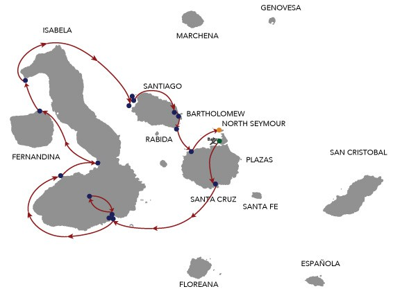 Map for Galapagos Cruise - 8 Days B (Cormorant)