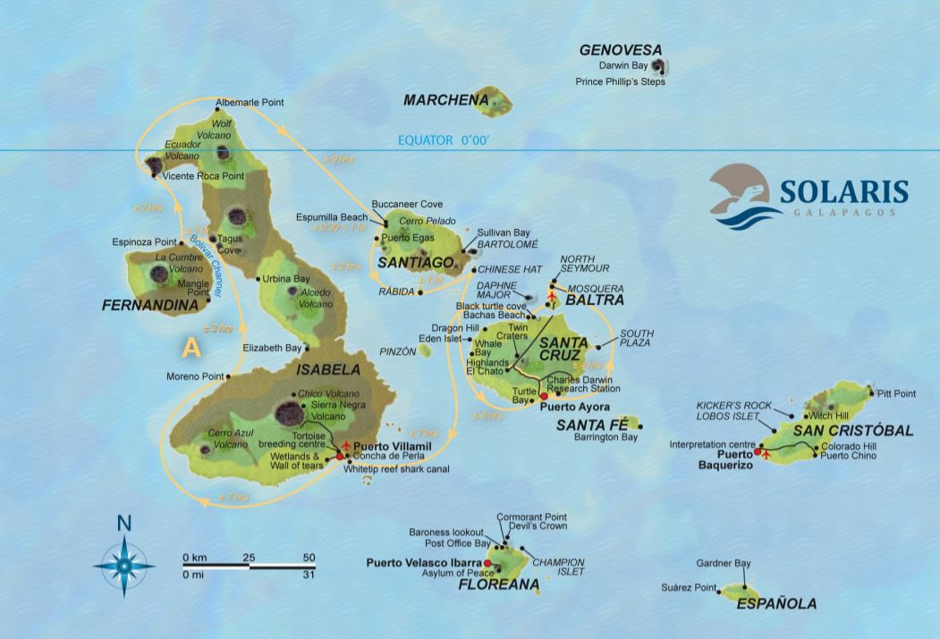 Map for Galapagos Cruise A (Solaris)