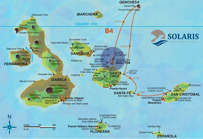 Map for Galapagos Cruise 4 Day B (Solaris)