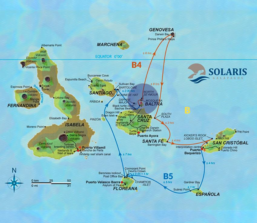 Map for Galapagos Cruise 8 Day B (Solaris)