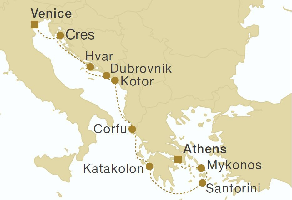 Map for Greece, Montenegro & Croatia 11 Days (Star Flyer)