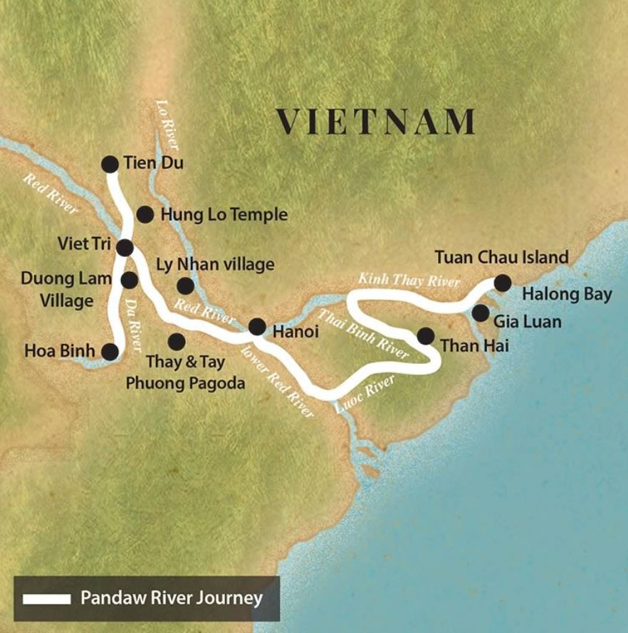 Map for Halong Bay and the Red River (Upstream)