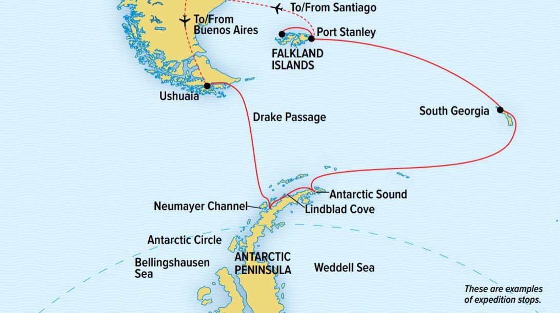 Map for Antarctica, S. Georgia & The Falklands (NG Endurance)