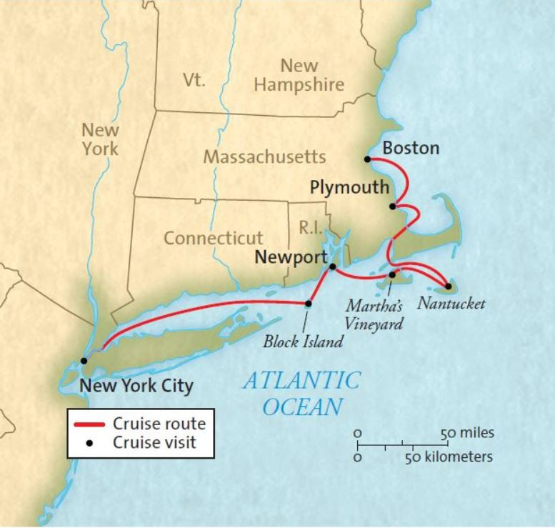 Map for Islands of New England 2020 - 2021 (Grande Mariner)